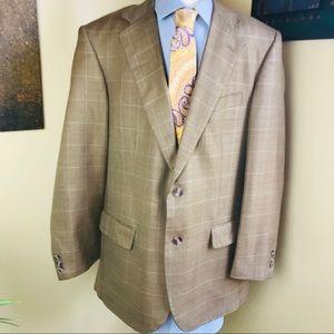 Alan Flusser golden brown silk and wool blazer